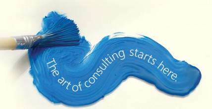 "Blue paint streak ""The art of consulting starts here"""